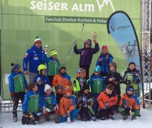 Preisverteilung Jannick Marth 15. Platz mit Peter Fill & Denise Carbon - Peter Fill Fanclub-Rennen 30.12.2018 Seiser Alm