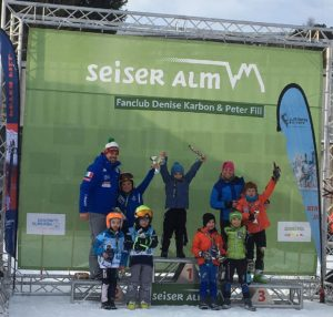 Preisverteilung Tommy Pichler 2. Platz mit Peter Fill & Denise Carbon - Peter Fill Fan-Club Rennen 30.12.2018 Seiser Alm
